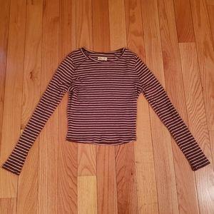 Hollister Maroon / White striped long sleeve tee